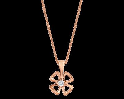 Bulgari Fiorever Halskette aus 18 Karat Roségold mit einem zentralen Diamanten