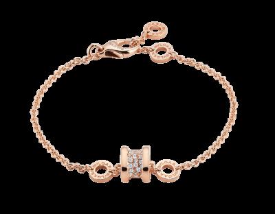 Bulgari Weiches B.zero1 Armband aus 18 Karat Roségold, an der Spirale ausgefasst mit Diamant-Pavé