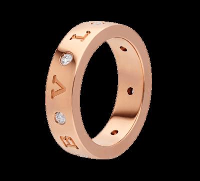 BULGARI BULGARI Band-Ring aus 18 Karat Roségold mit sieben Diamanten