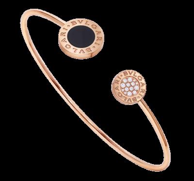 BULGARI BULGARI Armband aus 18 Karat Roségold mit Onyx-Element und Diamant-Pavé