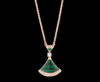 Bulgari DIVAS' DREAM Halskette aus 18 Karat Roségold mit einem Anhänger aus einem Diamanten, Malachit-Elementen und Diamant-Pavé
