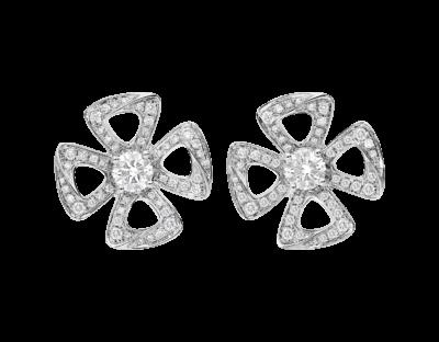 Bulgari Fiorever Ohrringe aus 18 Karat Weißgold mit zwei zentralen Diamanten und Diamant-Pavé