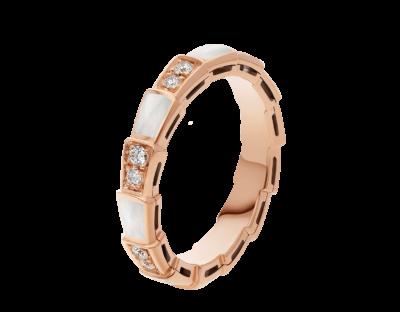 Bulgari Serpenti Viper Band-Ring aus 18 Karat Roségold mit Perlmutt-Elementen und Diamant-Pavé