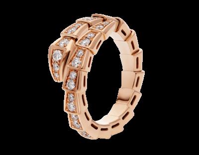 Bulgari Serpenti Viper Ring aus 18 Karat Roségold mit Diamant-Pavé
