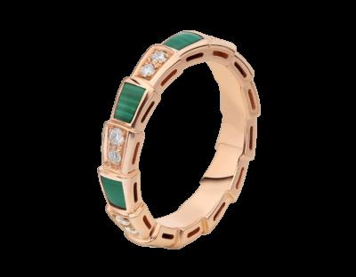 Bulgari Schmale Serpenti Viper Ringe aus 18 Karat Roségold mit Malachit-Elementen und Diamant-Pavé